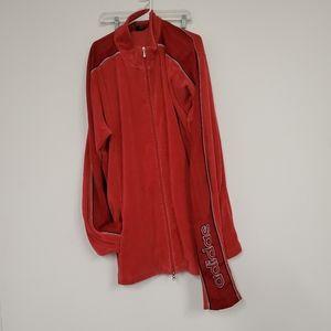 Vintage adidas red velour track jacket mens sz.2XT